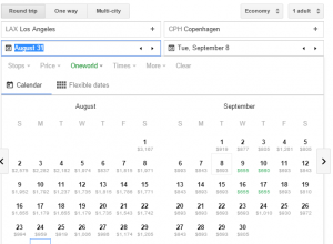 Google-Flights-tutorial-LAX-CPH-oneworld-fare-calendar